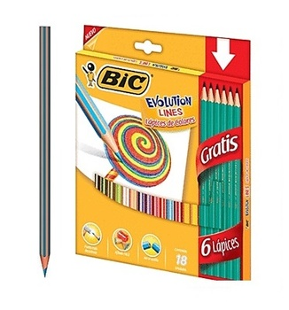 [14934] CRAYON MADERA 18 COLORES EVOLUTION + 6 LAPICES | BIC
