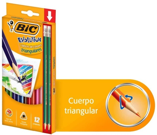 [14933] CRAYON MADERA TRIANGULARES 12 COLORES EVOLUTION | BIC